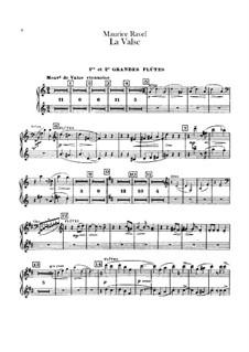 La valse. Choreographic Poem for Orchestra, M.72: Flutes parts by Maurice Ravel