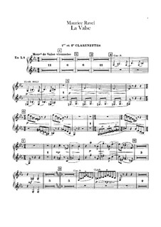 La valse. Choreographic Poem for Orchestra, M.72: Clarinets parts by Maurice Ravel