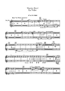 La valse. Choreographic Poem for Orchestra, M.72: French horns parts by Maurice Ravel