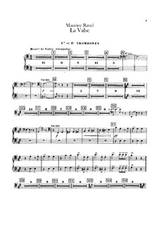 La valse. Choreographic Poem for Orchestra, M.72: Trombones and tuba parts by Maurice Ravel