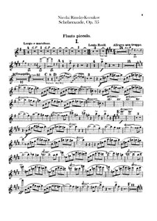 Scheherazade, Op.35: Flute piccolo part by Nikolai Rimsky-Korsakov