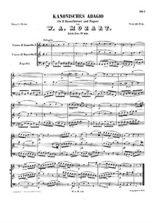 Canonical Adagio for Two Basset Horns and Bassoon in F Major, K.410: Full score by Wolfgang Amadeus Mozart