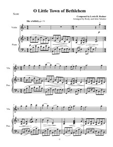 O Little Town of Bethlehem: For violin and piano by Lewis Henry Redner