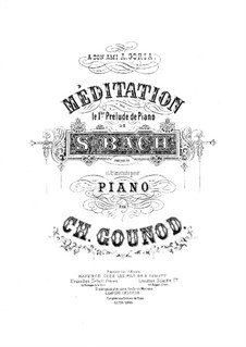 Meditation on Prelude No.1 by Bach: For piano four hands by Charles Gounod