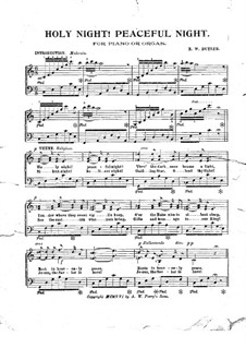 Silent Night, for Solo Instrument: For piano (or organ) by Franz Xaver Gruber