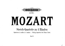 String Quartet No.16 in E Flat Major, K.428: Arrangement for piano four hands – parts by Wolfgang Amadeus Mozart