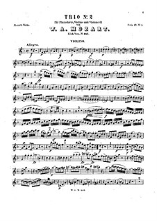 Trio for Violin, Cello and Piano No.8 in D Minor, K.442: Violin part by Wolfgang Amadeus Mozart