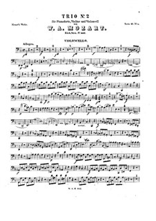 Trio for Violin, Cello and Piano No.8 in D Minor, K.442: Cello part by Wolfgang Amadeus Mozart