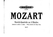 String Quartet No.17 in B Flat Major 'Hunt' , K.458: Arrangement for piano four hands – parts by Wolfgang Amadeus Mozart