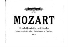 String Quartet No.19 in C Major 'Dissonance', K.465: Arrangement for piano four hands – parts by Wolfgang Amadeus Mozart