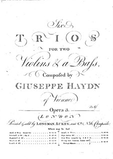 Six Trios for Two Violins and Basso Continuo: Violin I part by Joseph Haydn