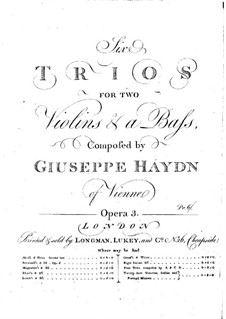 Six Trios for Two Violins and Basso Continuo: Violin II part by Joseph Haydn
