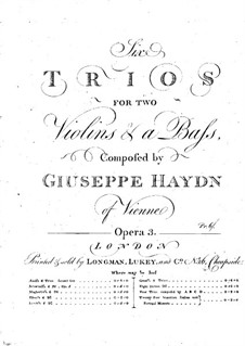 Six Trios for Two Violins and Basso Continuo: Basso continuo part by Joseph Haydn