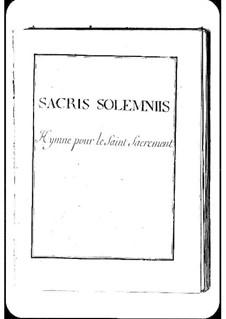 Sacris solemnis: Sacris solemnis by Michel Richard de Lalande