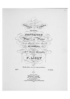 Fantasia No.1 on Theme from 'Les soirées musicales' by Rossini, S.422: Fantasia No.1 on Theme from 'Les soirées musicales' by Rossini by Franz Liszt