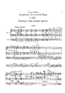 Symphony No.8 in E Flat Major: Organ part by Gustav Mahler
