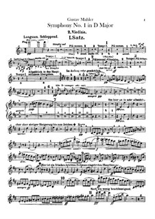 Symphony No.1 in D Major 'Titan': Violins II parts by Gustav Mahler
