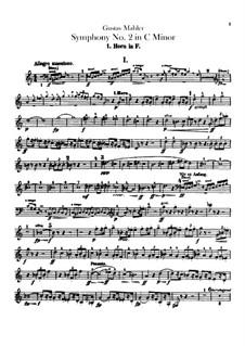 Symphony No.2 in C Minor 'Resurrection': Horns parts by Gustav Mahler