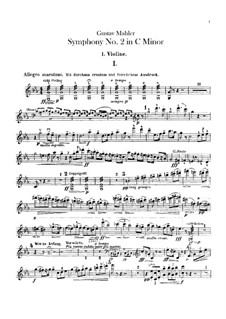 Symphony No.2 in C Minor 'Resurrection': Violins I part by Gustav Mahler