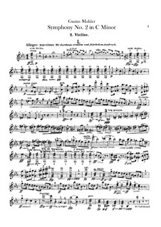 Symphony No.2 in C Minor 'Resurrection': Violins II part by Gustav Mahler