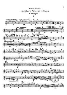 Symphony No.4 in G Major: Trumpets parts by Gustav Mahler