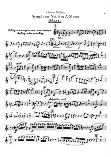 Symphony No.6 in A Minor 'Tragic': Oboes and cor anglais parts by Gustav Mahler