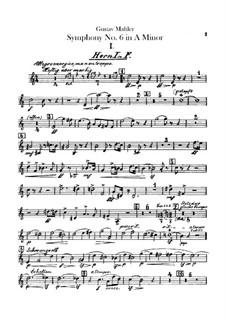 Symphony No.6 in A Minor 'Tragic': Horns parts by Gustav Mahler