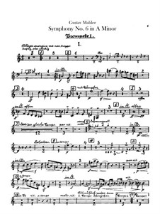 Symphony No.6 in A Minor 'Tragic': Trumpets parts by Gustav Mahler
