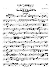 Variations 'La bergere Celimene' for Violin and Piano: Solo part by Wolfgang Amadeus Mozart