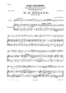 Six Variations on 'Helas, j'ai perdu mon amant', K.360: For violin and piano by Wolfgang Amadeus Mozart