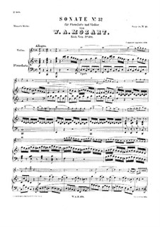 Sonata for Violin and Piano No.24 in F Major, K.376: Scores by Wolfgang Amadeus Mozart