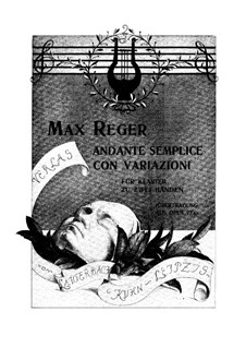 Serenade for Flute, Violin and Viola No.1 in D Major, Op.77a: Movement II, for piano by Max Reger