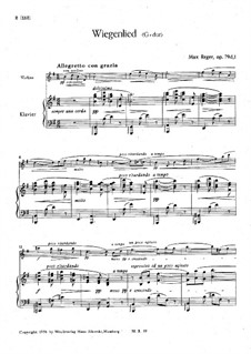 Suite for Violin and Piano, Op.79d: Score by Max Reger
