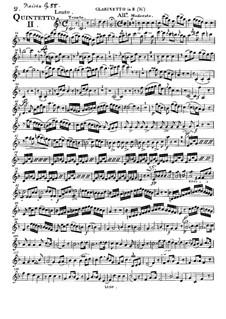 Woodwind Quintet in E Flat Major, Op.88 No.2: Clarinet part by Anton Reicha