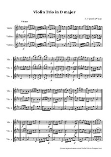 Trio in D Major for Violins, QV 3:3:1: Trio in D Major for Violins by Johann Joachim Quantz