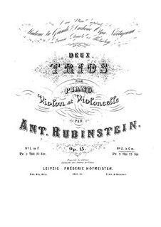 Piano Trio No.2 in G Minor, Op.15: Full score by Anton Rubinstein