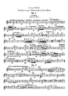 Lieder eines fahrenden Gesellen (Songs of a Wayfarer): For voice and orchestra – oboes or english horn parts by Gustav Mahler