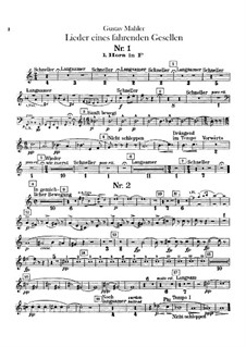 Lieder eines fahrenden Gesellen (Songs of a Wayfarer): For voice and orchestra – French Horns Parts by Gustav Mahler