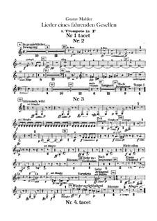 Lieder eines fahrenden Gesellen (Songs of a Wayfarer): For voice and orchestra – trumpets part by Gustav Mahler