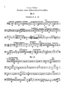 Lieder eines fahrenden Gesellen (Songs of a Wayfarer): For voice and orchestra – percussion parts by Gustav Mahler