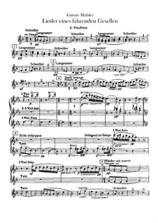 Lieder eines fahrenden Gesellen (Songs of a Wayfarer): For voice and orchestra – violins parts by Gustav Mahler