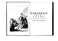 Estro poetico-armonico for Voices and Basso Continuo: Volume VI. Introduction by Benedetto Marcello