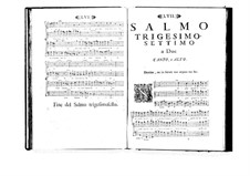 Estro poetico-armonico for Voices and Basso Continuo: Volume VII. Psalm XXXVII by Benedetto Marcello