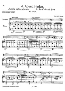 In the Calm of Eve for Cello and Piano: In the Calm of Eve for Cello and Piano by Gabriel Prosper Marie