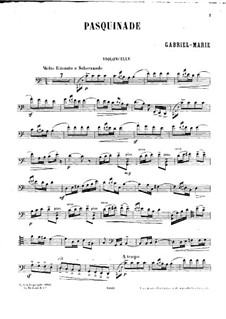 Pasquinade for Cello and Piano: Solo part by Gabriel Prosper Marie
