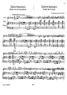 Vingt-quatre Caprices d'execution transcendante for violin and piano, Op.25: No.10 Intermezzo – score by Henri Marteau