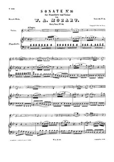 Sonata for Violin and Piano No.16 in B Flat Major, K.31: Score for two performers by Wolfgang Amadeus Mozart