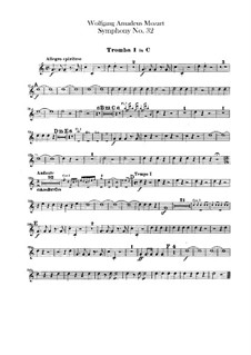 Symphony No.32 in G Major, K.318: Trumpets parts by Wolfgang Amadeus Mozart