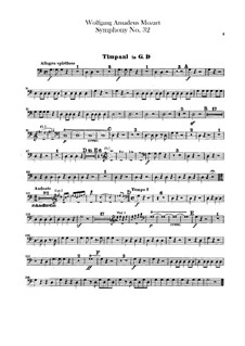 Symphony No.32 in G Major, K.318: Timpani part by Wolfgang Amadeus Mozart