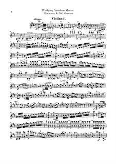 Overture: Violin II part by Wolfgang Amadeus Mozart